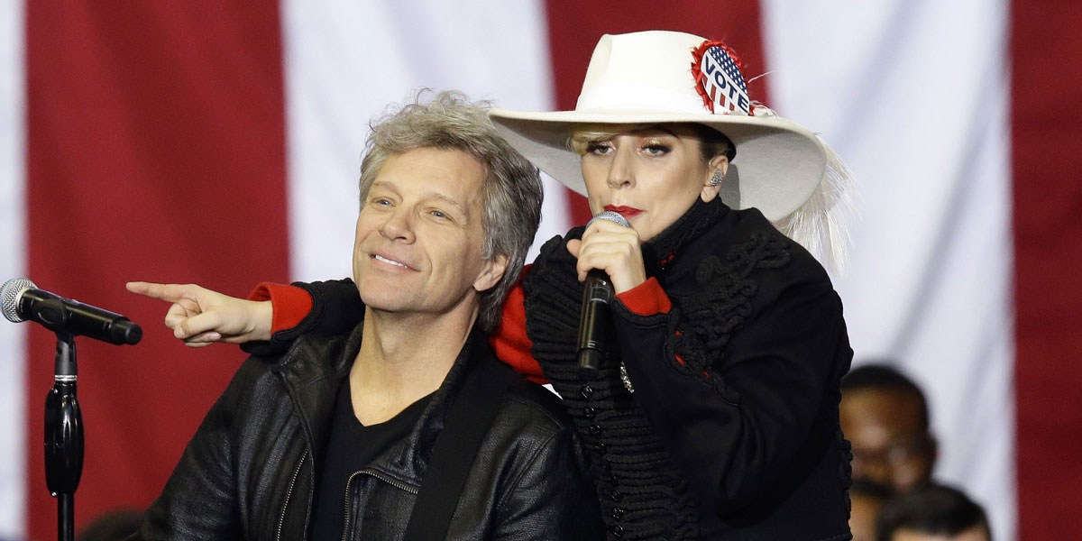 Lady Gaga Performs For Hillary Clinton, Duets With Jon Bon Jovi